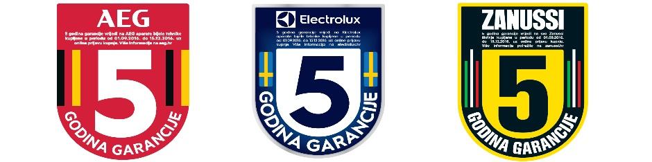 Electrolux, AEG i Zanussi 5 godina jamstva